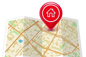 City map with label home pin