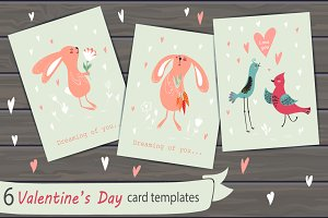 Set of 6 Valentine Cards