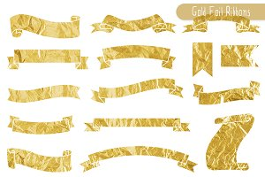 Gold Foil Ribbon Banners Clipart