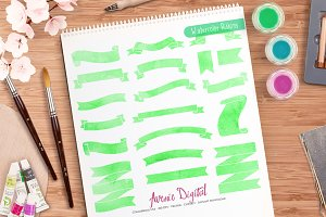 Green Watercolor Ribbon Banner