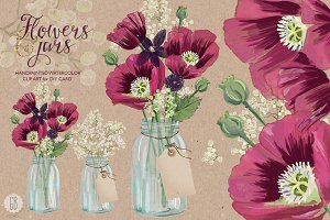 Watercolor burgundy poppies in a jar