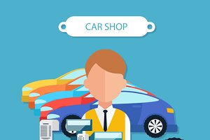 Car Shop Concept Flat Design Style
