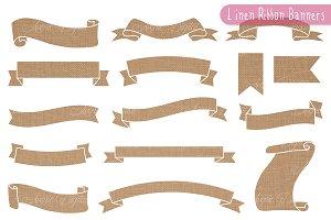 Linen - Burlap Ribbon Banner Clipart