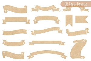 Kraft Paper Ribbon Banners Clipart