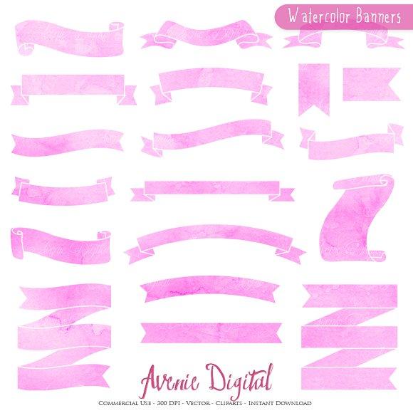 Pink - Purple Watercolor Ribbons
