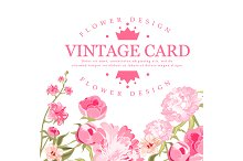 Vintage Flower Card. Floral Vector
