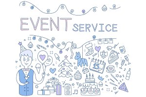 Event Service. Hand drawn Vector