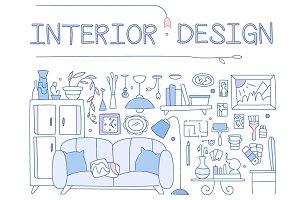 Interior design style hand-drawn