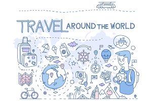 Travel Around the World. Hand drawn