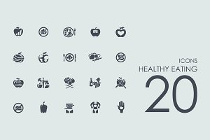 20 Healthy Eating icons