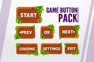 SALE!Game buttons pack in wood style