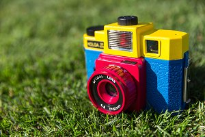 Colourful retro camera