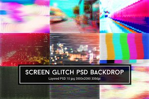 Screen Glitch PSD Backdrop
