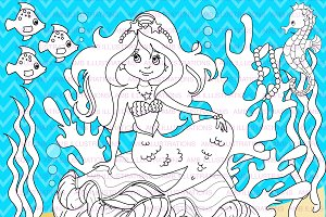 Mermaid Digital Stamps AMB-1106