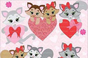 Valentines Cats Clipart AMB-334