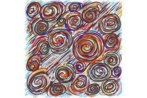 Colorfull abstract hand-drawn