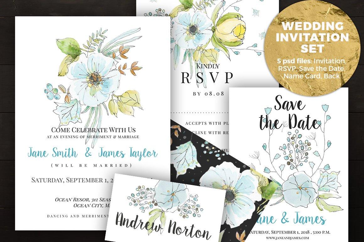 Light Blue Wedding Invitation Set ~ Invitation Templates ~ Creative ...