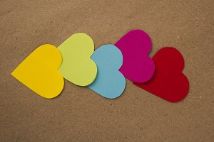 color paper hearts