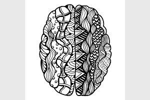 Vector Human Brain doodle