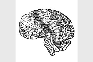 Vecctor Human Brain doodle