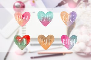 Vector watercolor hearts Stickers