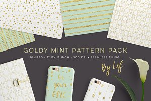 Gold Mint Digital Paper Patterns