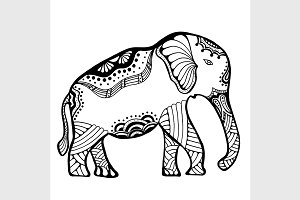 Hand drawn Indian elephant.