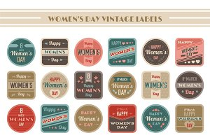 Women's Day Vintage Labels