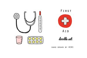 First Aid. Doodle set