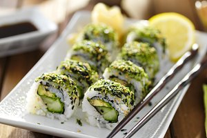 kale and avocado sushi