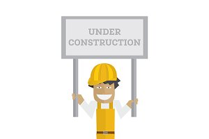 Worker with under construction sign.