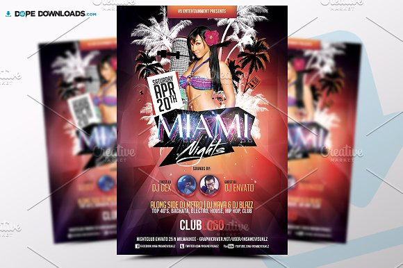 miami nights flyer template flyer templates creative market