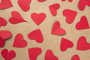 group of paper hearts in red