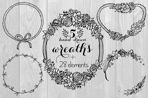 Hand Drawn Wreaths & Elements