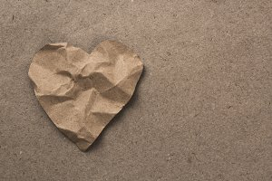 brown paper heart