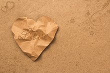 brown paper heart with texture