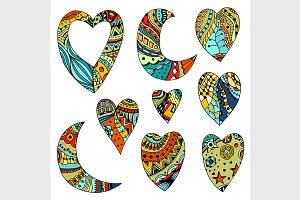 colored hearts and crescent