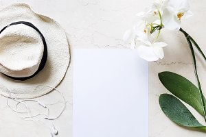 White Hat and Flower Mockup