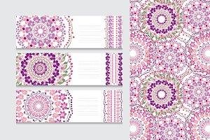 Pink Violet Floral Card Templates