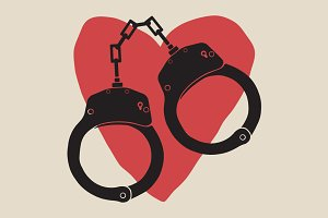 Handcuffs icon with love red heart.