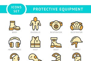 Set icons of protecting equipment