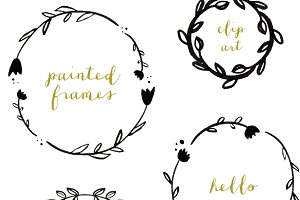 Hand Painted Wreath Clip Art
