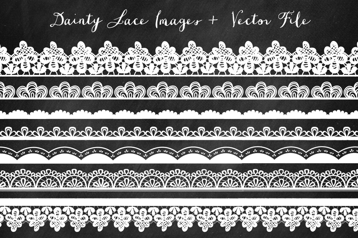 Borders Lace Clip Art Illustrations Creative Market
