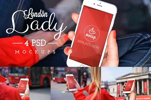 4 PSD Mockups London Lady