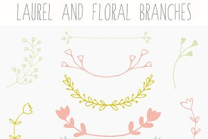 Laurel Clip Art and Floral Branches