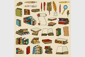 Colored Illustrations of Books