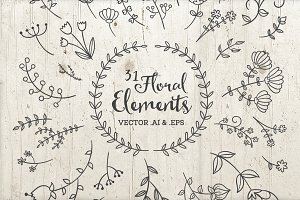 31 Vector Floral Elements