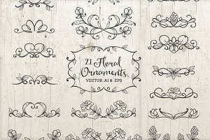 21 Floral Ornaments Vector AI & EPS