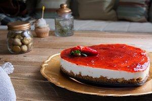 Heart shaped, cheesecake raspberry