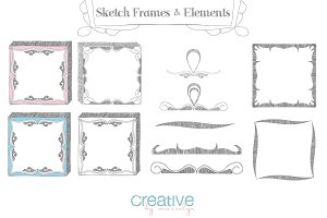 Sketch Frames & Elements - PNG Pack